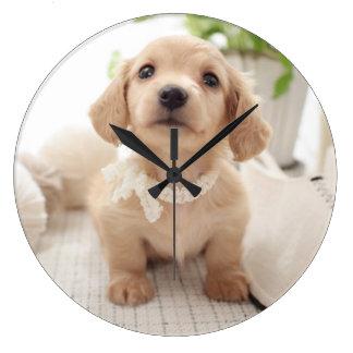 Dachshund miniatura reloj redondo grande