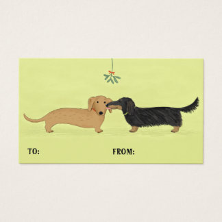 Dachshund Mistletoe Kiss Christmas Gift Tags