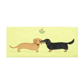 Dachshund Mistletoe Kiss - Wiener Dog Christmas Canvas Print