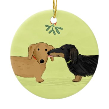 Christmas Themed Dachshund Mistletoe Kiss - Wiener Dog Christmas Ceramic Ornament