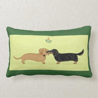 Dachshund Mistletoe Kiss - Wiener Dog Christmas Lumbar Pillow
