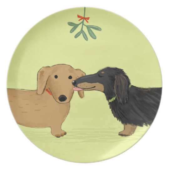 Dachshund Mistletoe Kiss - Wiener Dog Christmas Melamine Plate