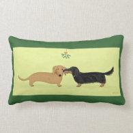 Dachshund Mistletoe Kiss - Wiener Dog Christmas Pillows