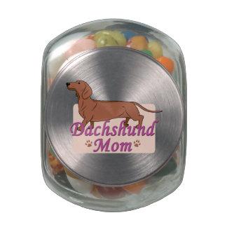 Dachshund Mom 2 Glass Candy Jars