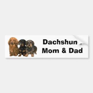 Dachshund Mom & Dad Bumper Sticker Car Bumper Sticker