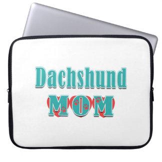 Dachshund Mom Hearts Laptop Sleeve