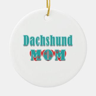 Dachshund Mom Hearts Christmas Ornament