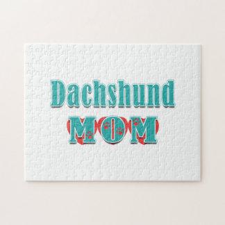Dachshund Mom Hearts Jigsaw Puzzle