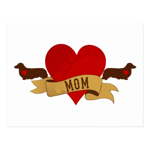 Dachshund Mom [Tattoo style] Postcards