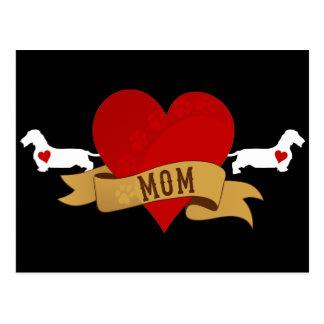 Dachshund Mom [Tattoo style] Postcard