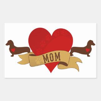 Dachshund Mom [Tattoo style] Rectangular Sticker