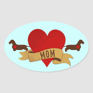 Dachshund Mom [Tattoo style] Oval Sticker