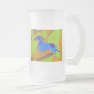 Dachshund 16 Oz Frosted Glass Beer Mug