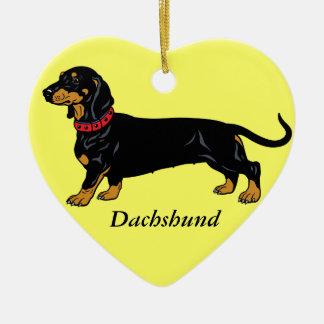 dachshund negro ornamento de navidad