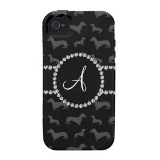 Dachshund negro del monograma vibe iPhone 4 fundas