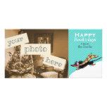 Dachshund negro/navidad de la nieve del moreno azu tarjetas personales con fotos