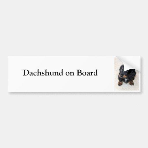 Dachshund on board custom bumper sticker car bumper sticker
