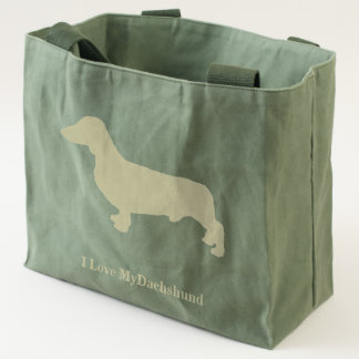Dachshund on Canvas Tote