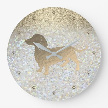 dachshund on FAUX glitter Large Clock