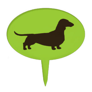 Dachshund on Green (Color is Customizable) Cake Topper