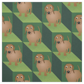 Dachshund on Green Cubes Fabric