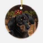 Dachshund Double-Sided Ceramic Round Christmas Ornament
