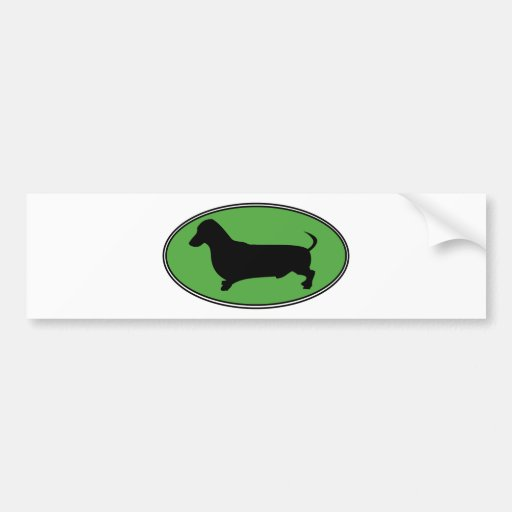 Dachshund Oval Green-Plain Bumper Stickers