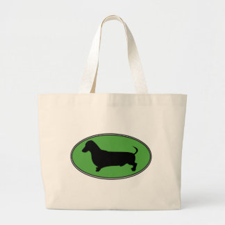 Dachshund Oval Green-Plain Large Tote Bag