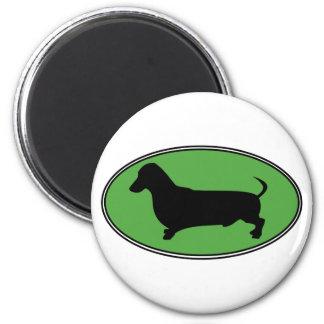 Dachshund Oval Green-Plain Refrigerator Magnet