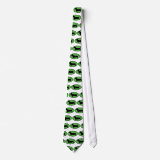 Dachshund Oval Green-Plain Tie