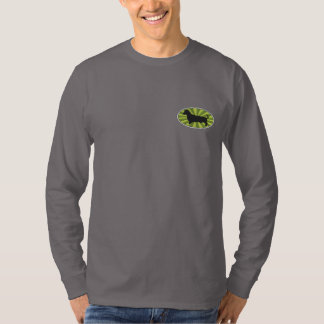 Dachshund Oval Green-Starburs Embroidered Long Sleeve T-Shirt