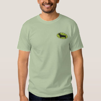 Dachshund Oval Green-Starburs Embroidered T-Shirt