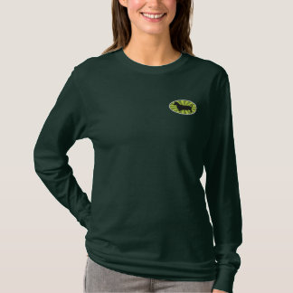 Dachshund Oval Green-Starburst Embroidered Long Sleeve T-Shirt