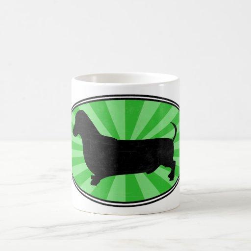 Dachshund Oval Green-Starburst-Wash Mugs