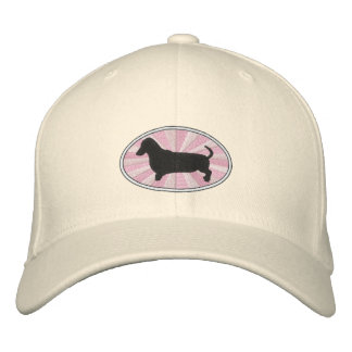 Dachshund Oval Pink Starburst Embroidered Baseball Cap