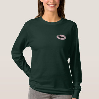 Dachshund Oval Pink Starburst Embroidered Long Sleeve T-Shirt