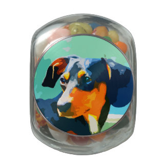 Dachshund Painted Doxie Portrait Glass Candy Jars