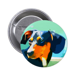Dachshund Painted Doxie Portrait Pinback Button