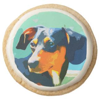 Dachshund Painted Doxie Portrait Round Shortbread Cookie