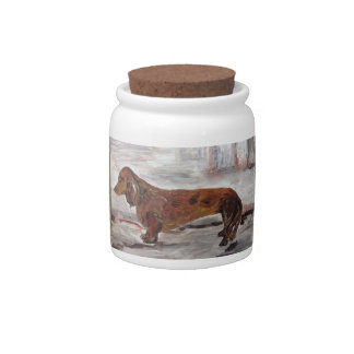 Dachshund Painting Candy Jar by Willowcatdesigns