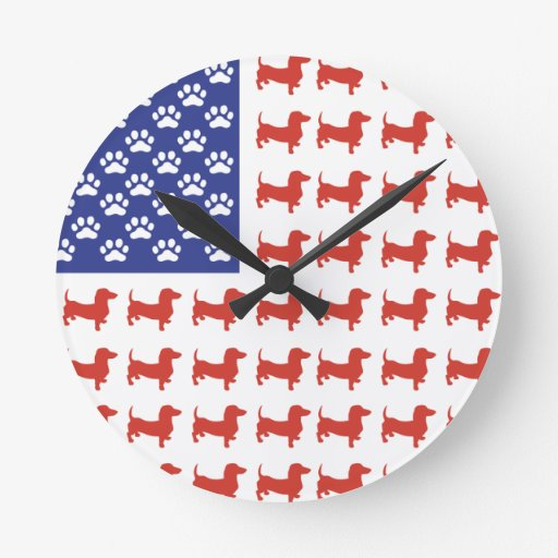 Dachshund patriótico Doxie Relojes De Pared