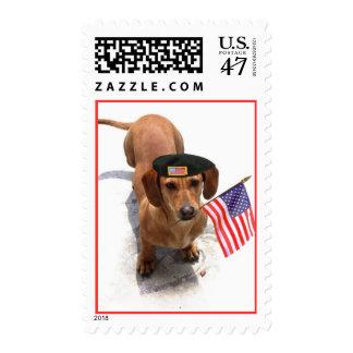 Dachshund patriótico sellos postales