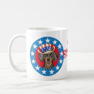 Dachshund patriótico taza de café