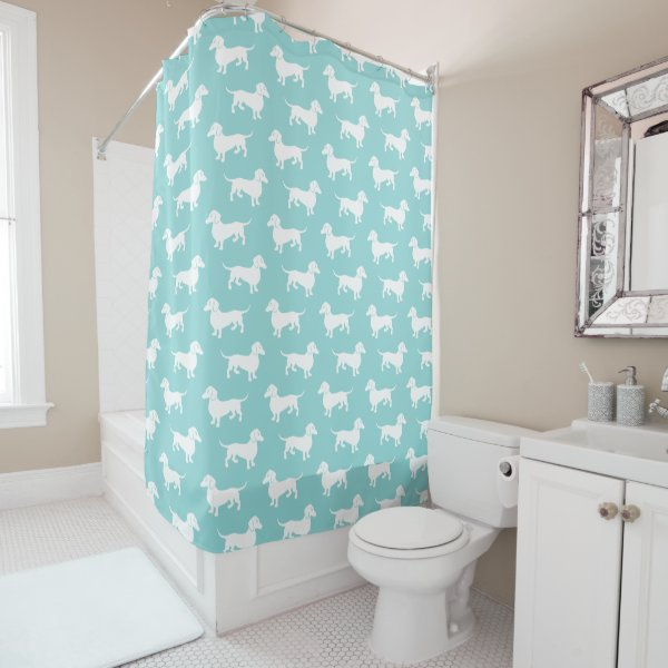 Dachshund Pattern Aqua Or Any Color You Choose Shower Curtain