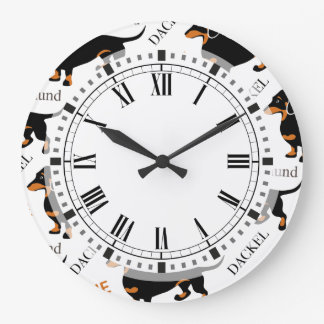 Dachshund Pattern Large Clock
