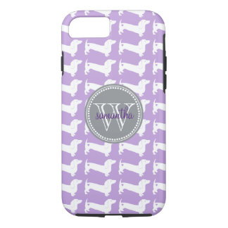 Dachshund Pattern Monogram iPhone 8/7 Case