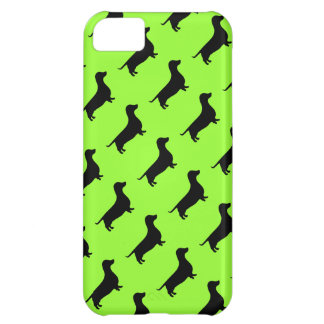 Dachshund Pattern on Bright Green Cover For iPhone 5C