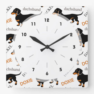 Dachshund Pattern Square Wall Clock