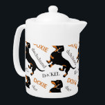 "Dachshund Pattern Teapot<br><div class=""desc"">Cute dachshund / doxie pattern featuring a black and tan smooth coated dachshund.</div>"