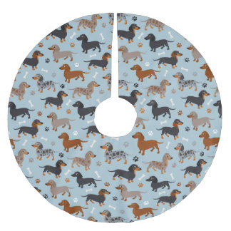 Dachshund Paws and Bones Pattern Blue Brushed Polyester Tree Skirt